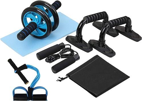 Comprar Lixada Rueda Abdominal Kit 4/5 en 1 con Push-UP Bar Cuerda para Saltar Esterilla de Rodilla para Fuerza Muscular Fitness Ejercicio en Casa