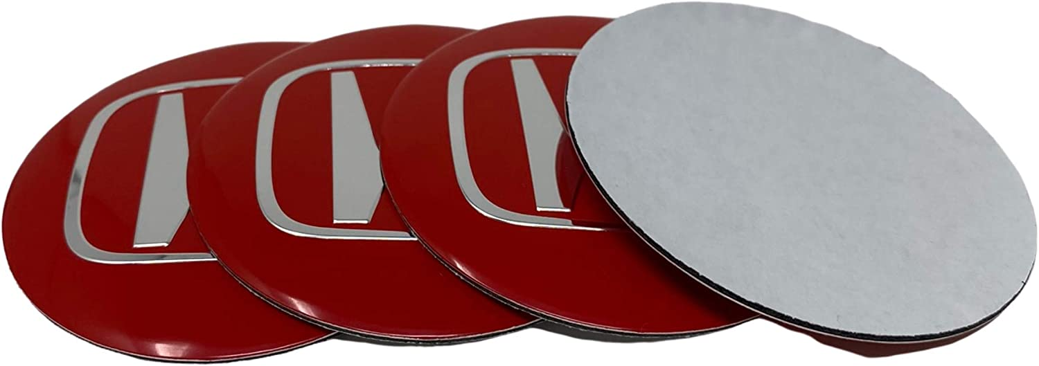 RED RENGVO 2.55 inch 65mm Hub Cap Stickers For HONDA ACCORD CIVIC TYPE R SI ETC Wheel Center Mag Rim Hubcap Emblem Logo Sticker PLEASE MEASURE Before Purchase for Best Fitment Pack of 4