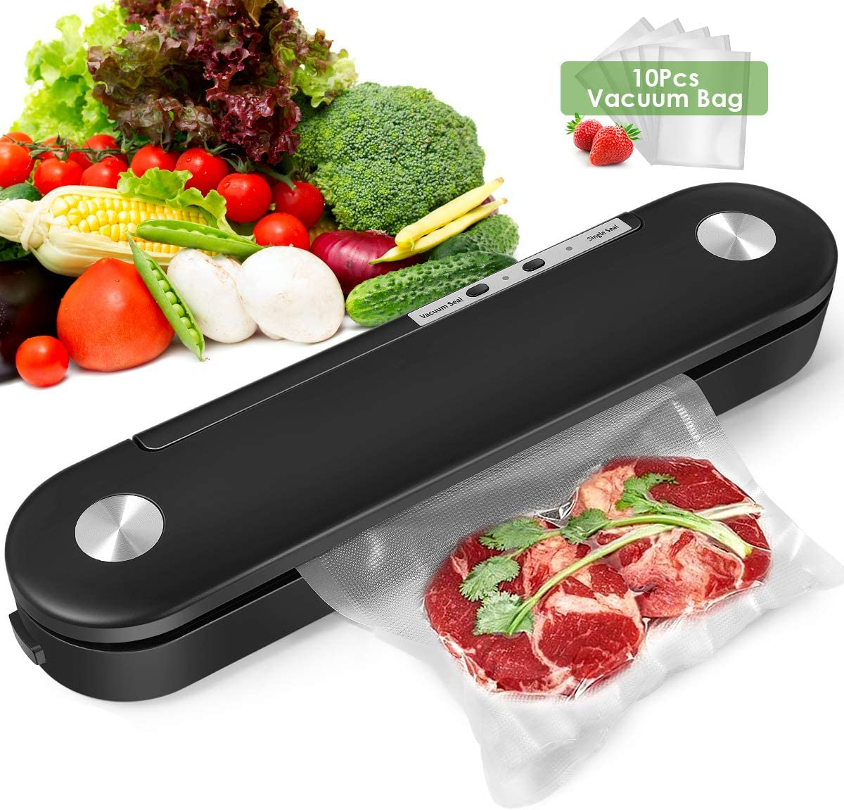 Vacuum Sealer Machine, Automatic Food Sealer Air Sealing System for Food Savers, Led Indicator Lights/Easy to Clean/Two Sealing Modes/Compact Design