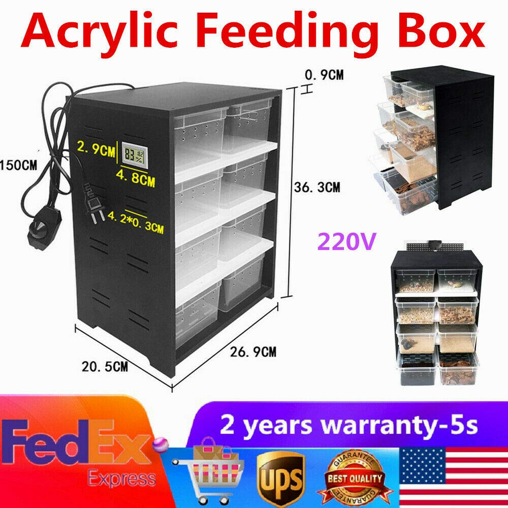 XYOUNG Acrylic Breeding Box,8PCS Feeding Reptile Breeding Tank Feeding Box Insect Spider Turtle Cage Pet Lizard Heating Pad Thermostat by XYOUNG