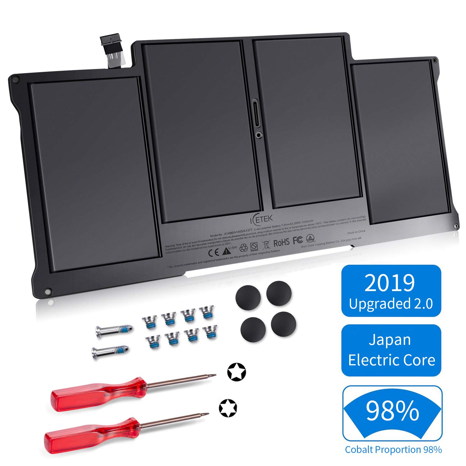 ICETEK Replacement Battery for MacBook Air 13 Inch A1466 A1369 [Japan Electric Core, 2019 Upgraded 2.0, Cobalt Proportion 98%] Late 2010 Early 2015 Version, fits A1496 A1377 A1405, 24 Months Warranty by ICETEK