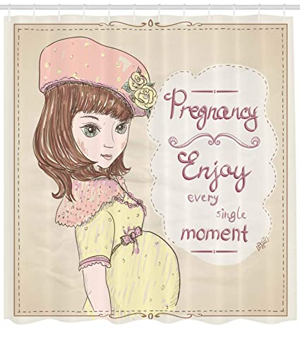 928cdf46dfb33 Ambesonne Quotes Shower Curtain, Pregnancy Enjoy Every Single Moment  Clipart Pregnant Woman Dress Hat,