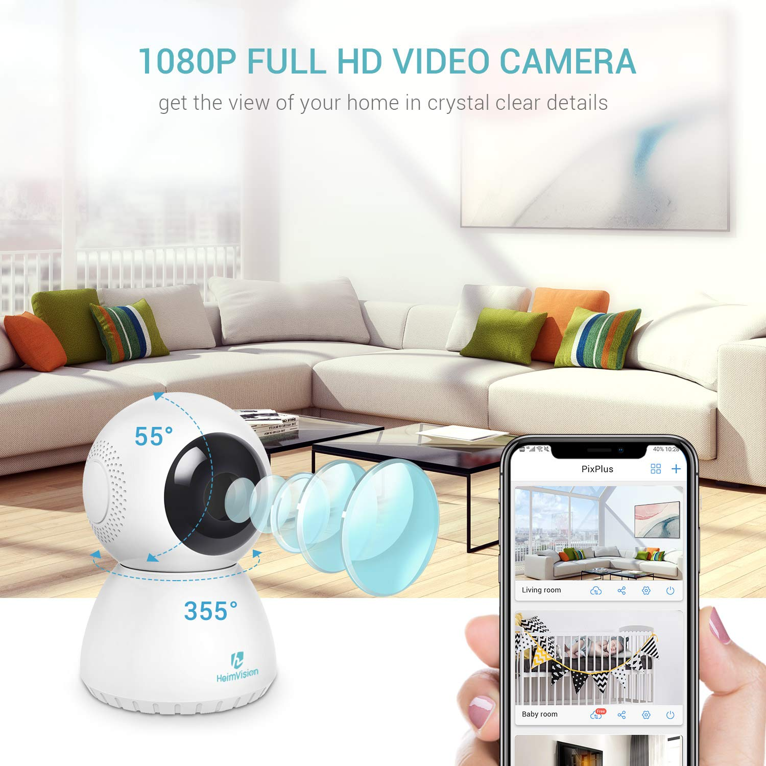 Heimvision HM205 1080P Security Camera, Works with Alexa, Night Vision, 2 Way Audio, Motion Detection, 2.4G Wireless Home Surveillance Camera for Baby/Pet/Nanny Monitor, Cloud Service/Microsd Support by HeimVision (Image #2)