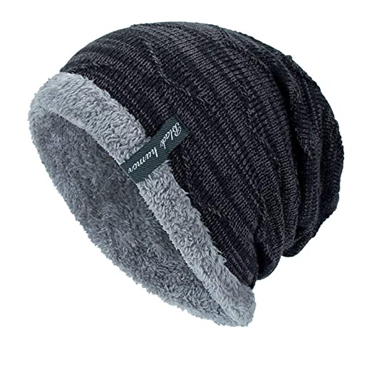 bcc8353e01e Men s Women s Winter Hat Knitted Wool Beanie Female Fashion Casual Outdoor  Mask Caps Thick Warm Hats for Women at Amazon Women s Clothing store