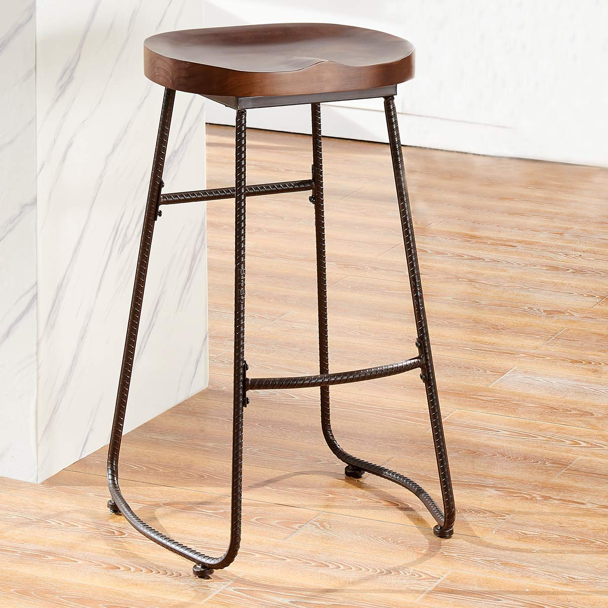 O&K FURNITURE 30-Inch Retro Bar Stool Kitchen Chair, Backless Counter Stool  with Saddle Seat, Rustic Brown (1-PC)