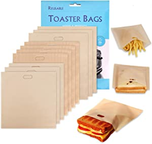 Toaster bags 3 Sizes Toaster Bags for Heat Resistant, Perfect for Grilled Cheese Sandwiches, Chicken, Nuggets, Panini and Garlic Toasts - 10 Pack