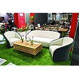 Salon de jardin 6 places, résine tressée noire, revêtement blanc, Dompiu