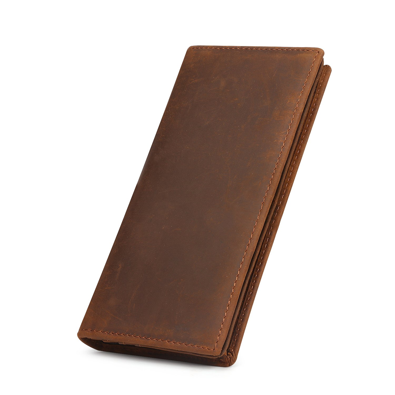 Kattee Vintage Look Genuine Leather Long Bifold Wallet (Brown)