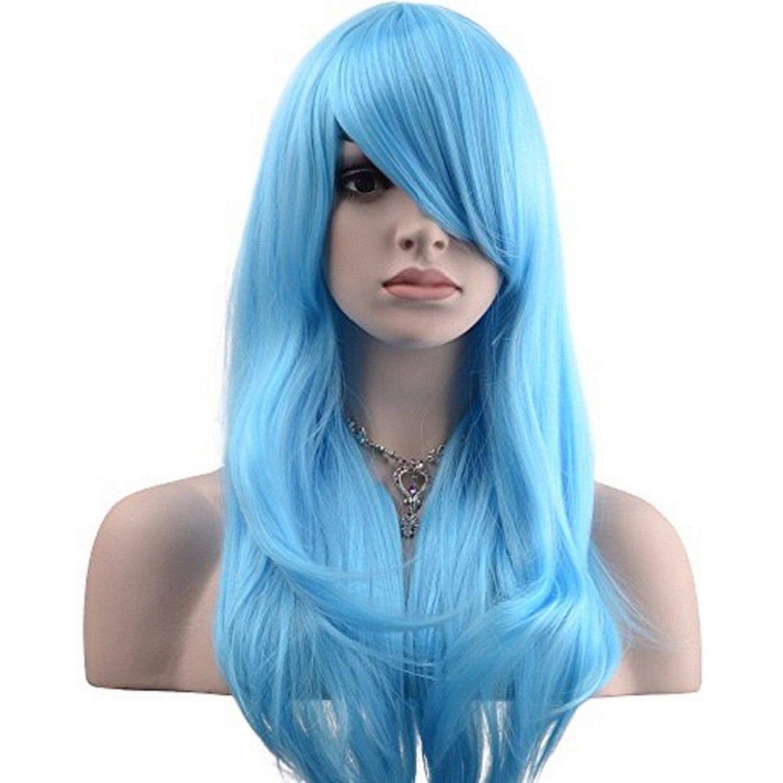 YOPO 28'' Wig Long Big Wavy Hair Women Cosplay Party Costume Wig(Light Blue)