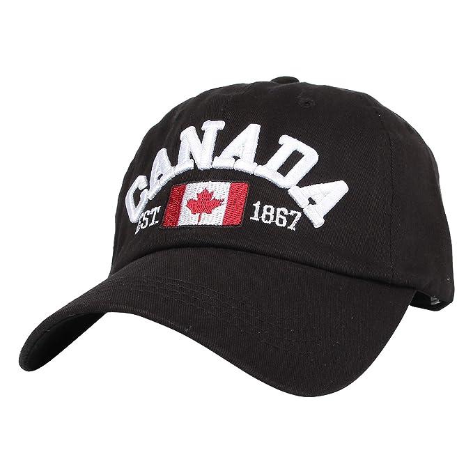 ed3aa85c31ca8 WITHMOONS Cotton Baseball Cap Canada Maple Flag Embroidery LX1382 (Black)
