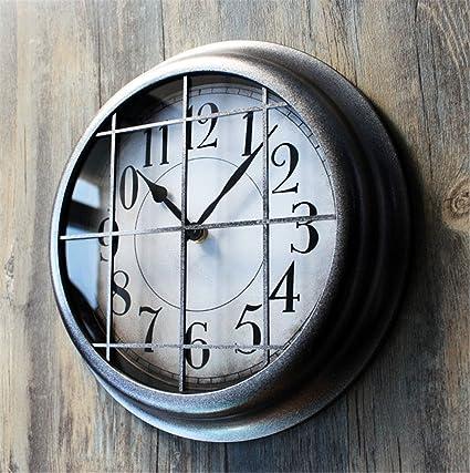 AIZIJI Reloj de Pared Industria Heavy Metal Retro Pared Reloj Vintage Personalidad Creativa Bar Decoración Reloj