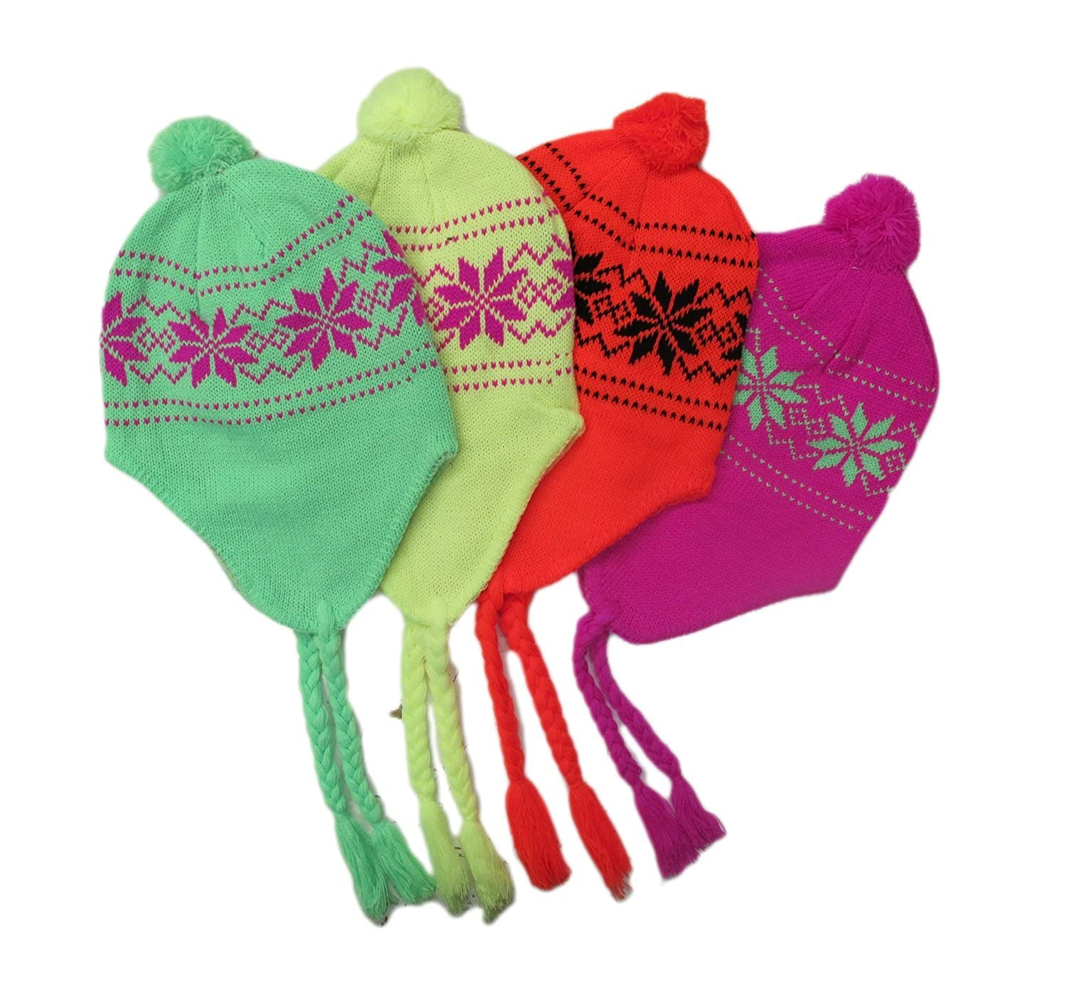 Beanie Ear-flap Hats, with Soft Warm Lining, Neon, Argyle or Snowflake, 4 Pack