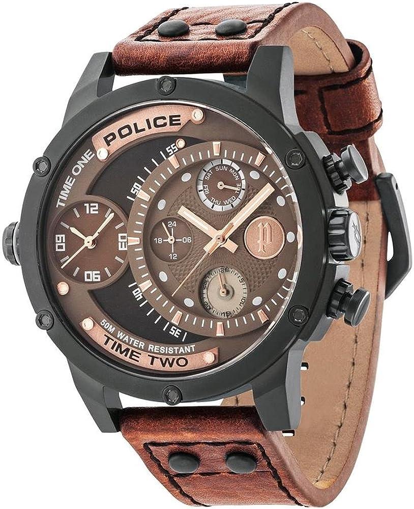 Police 14536JSB/12A - Reloj mecánico para hombre con pantalla analógica de esfera marrón y correa de piel marrón