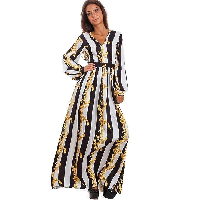 bb0e5e742838 Toocool - Vestito lungo donna abito fantasia barocca scollato righe elegante  sexy WD-2631  Taglia unica