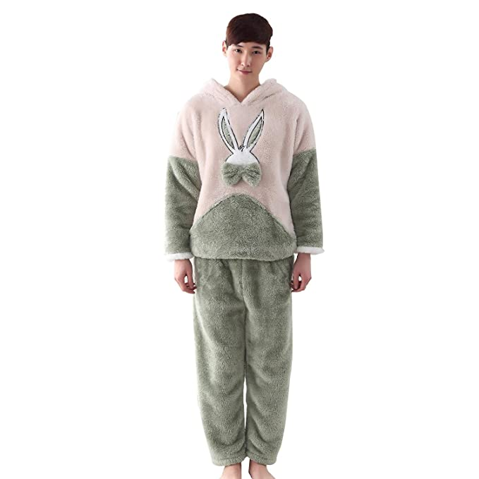 Invierno franela parejas pijamas orejas de conejo de dibujos animados coral cashmere pantalones de manga larga traje engrosamiento encapuchado servicio a ...