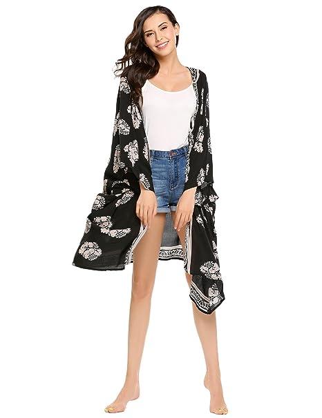 c70d45171f801 etuoji Women Vintage Floral Chiffon Kimono Cardigan Top Black Beach Bikini  Cover Up Black