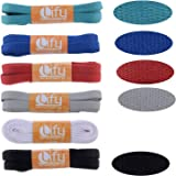 """Lify Flat Shoelaces - 8MM (5/16"""" Inch) Wide - Shoe Laces For All types of Shoes & Sneakers- Black, White, Grey, Light Grey, Chocolate, Royal Blue, Red Ocean blue, Orange, Yellow, Florescent & Hot Pink Color- Available in 90CM ( 35.43'' Inch) & (120CM ( 47.25'' Inch)- 6 Pair Pack"""