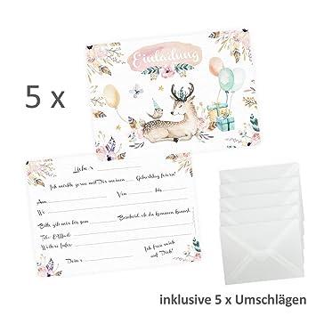 Nikima Schönes Für Kinder 5 Einladungskarten REH Hirsch Luftballon  Geschenke Inkl. 5 Transparenten Briefumschlägen Kindergeburtstag