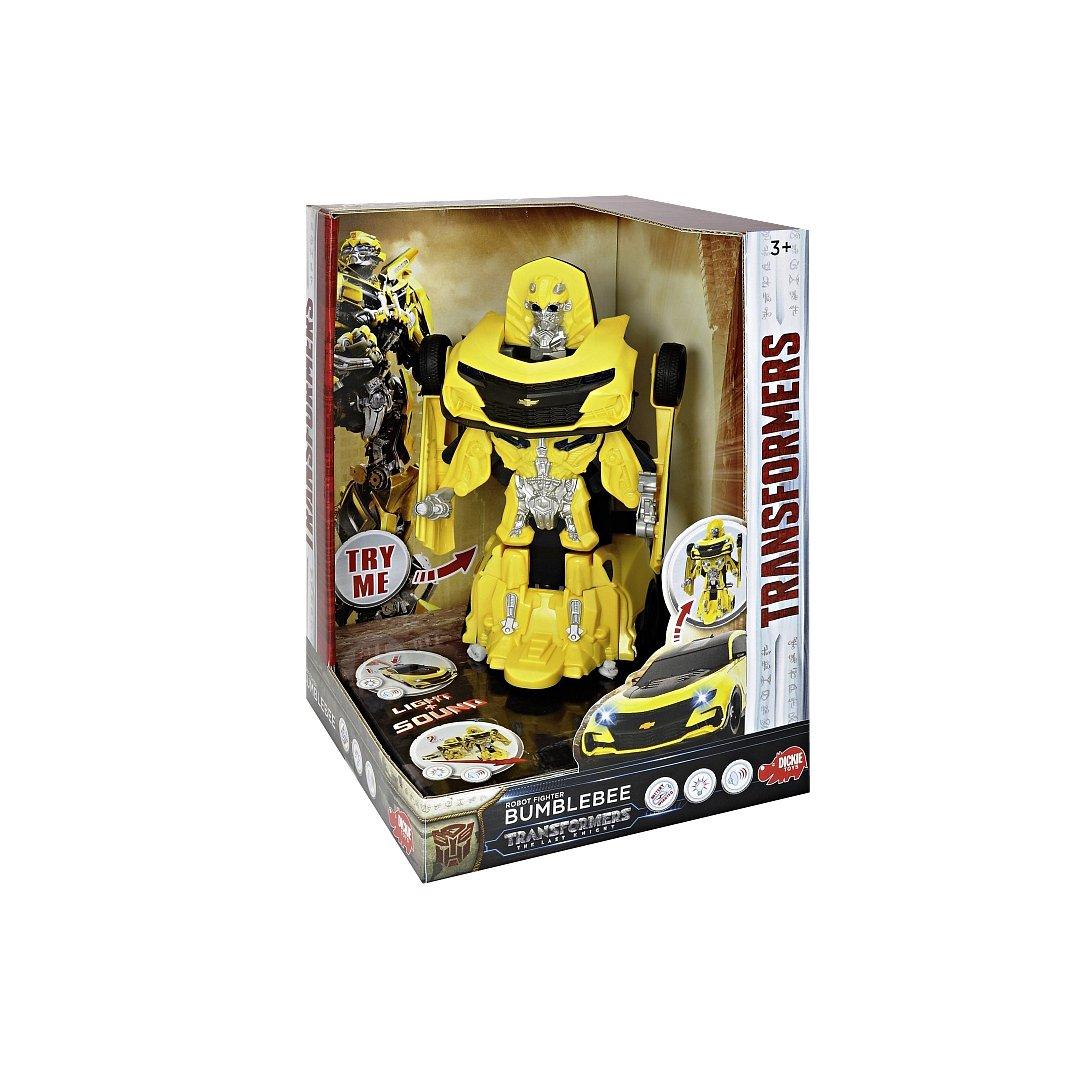 Dickie Toys 203113016 - Transformers Movie 5 Robot Fighter Bumblebee, verwandelbare Actionfigur, Roboter mit Licht und Sound, 24cm Dickie Spielzeug
