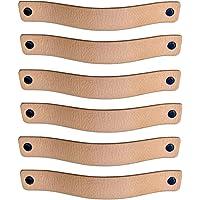 Brute Strength - Leren Handgrepen - Naturel - 6 stuks - 20 x 2,5 cm - incl. 3 kleuren schroeven per leren handvat voor…
