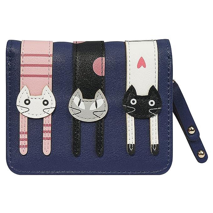 FXTXYMX - Monedero de piel sintética para chica adolescente, diseño de gatos - Azul - talla única: Amazon.es: Ropa y accesorios