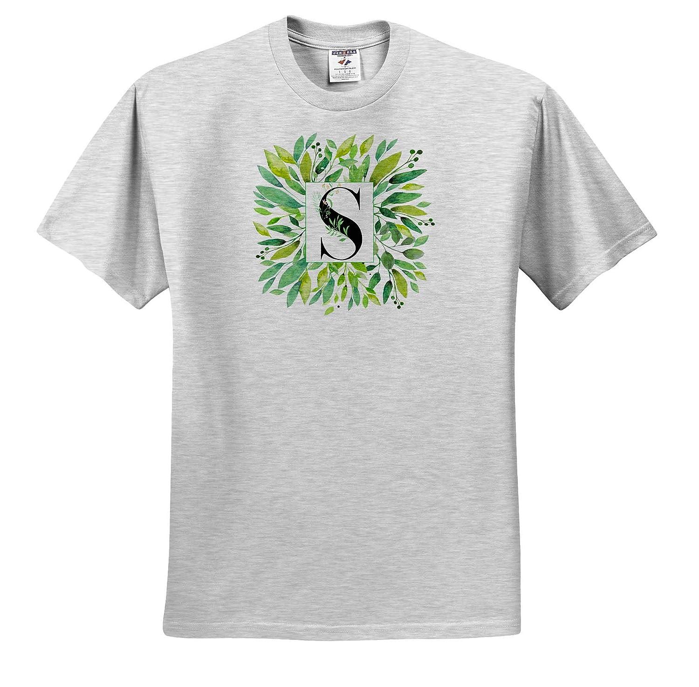 Pretty Image of Watercolor Greenery Leaves Monogram S Monograms Adult T-Shirt XL 3dRose Anne Marie Baugh ts/_318093