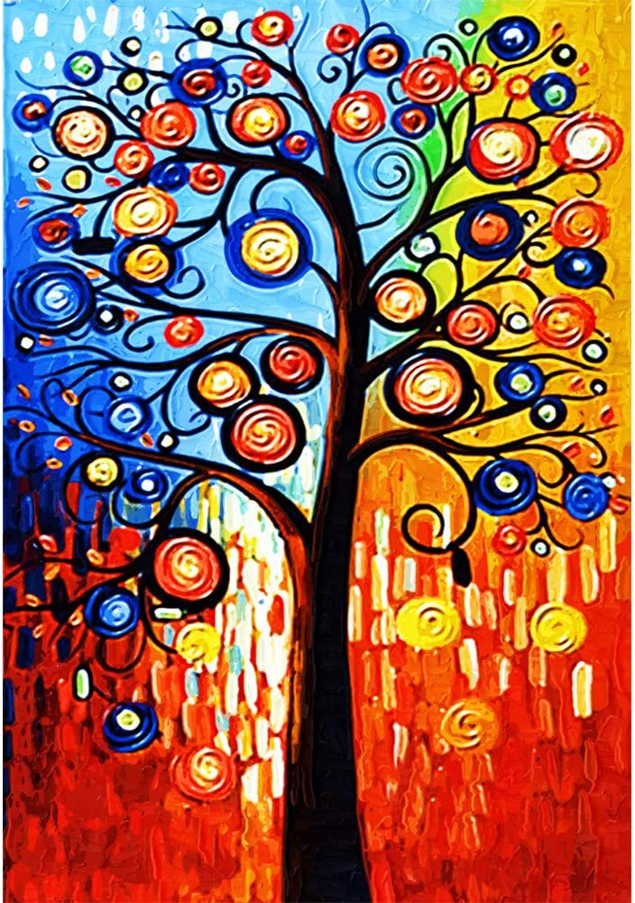 Diamond Painting Tree DIY 5D Number Kits for Adults Kids,Full Drill Crystal Rhinestone Diamond Paintings Embroidery Art Craft for Home Decor,Abstract Tree(12X16 inch)