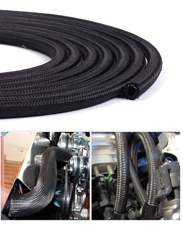AN-6 6AN 6 AN Nylon Stainless Steel Braided Fuel Oil Gas Line Hose Black 5 Feet Length