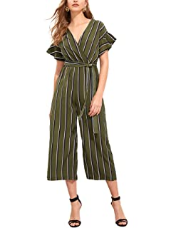 c84e02ffb684 Romwe Women s Floral V Neck Jumpsuit with Self Tie Mid Waist Cap Batwing  Sleeve Romper