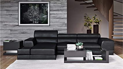 Amazon Com Zuri Furniture Encore Black Leather Sofa Left Chaise