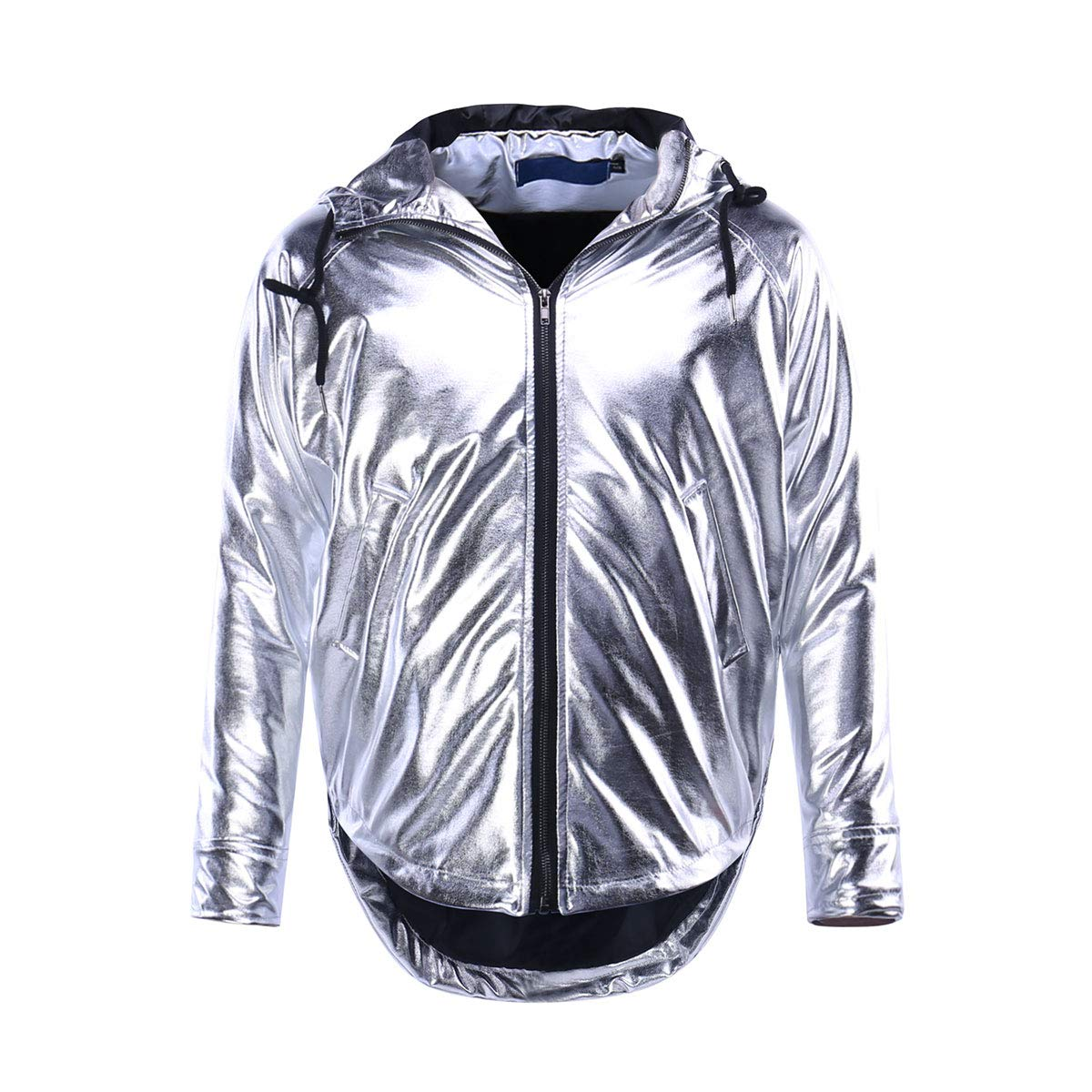 Men's Shiny Zipper Jacket Hooded Gold Hip Hop Nightclub Varsity Baseball Bomber Jackets by Keepline