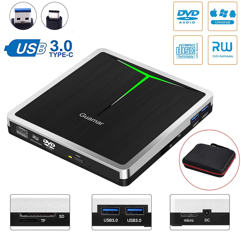 5 in 1 External CD DVD Drive Guamar USB 3.0 USB C CD DVD Drive CD Player Burner Writer Optical Drive for Laptop/Micbook/Windows/PC Supports SD Card/TF Card/2 USB 3.0 Transfers/DVD±RW/DVD±R/CD-R by Guamar