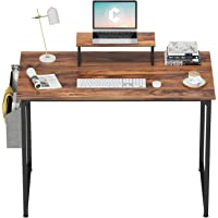 Cubiker Computer Desk 32 Inch Home Office Writing Desk Student Study Desk with Small Table and Storage Bag, Dark Rustic