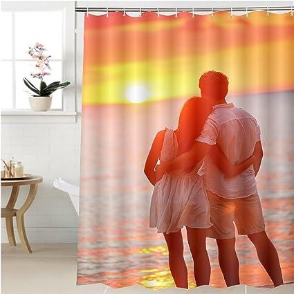 Gzhihine Shower Curtain Honeymoon Couple Romantic In Love At Beach Sunset Newlywed Happy Young Hugging
