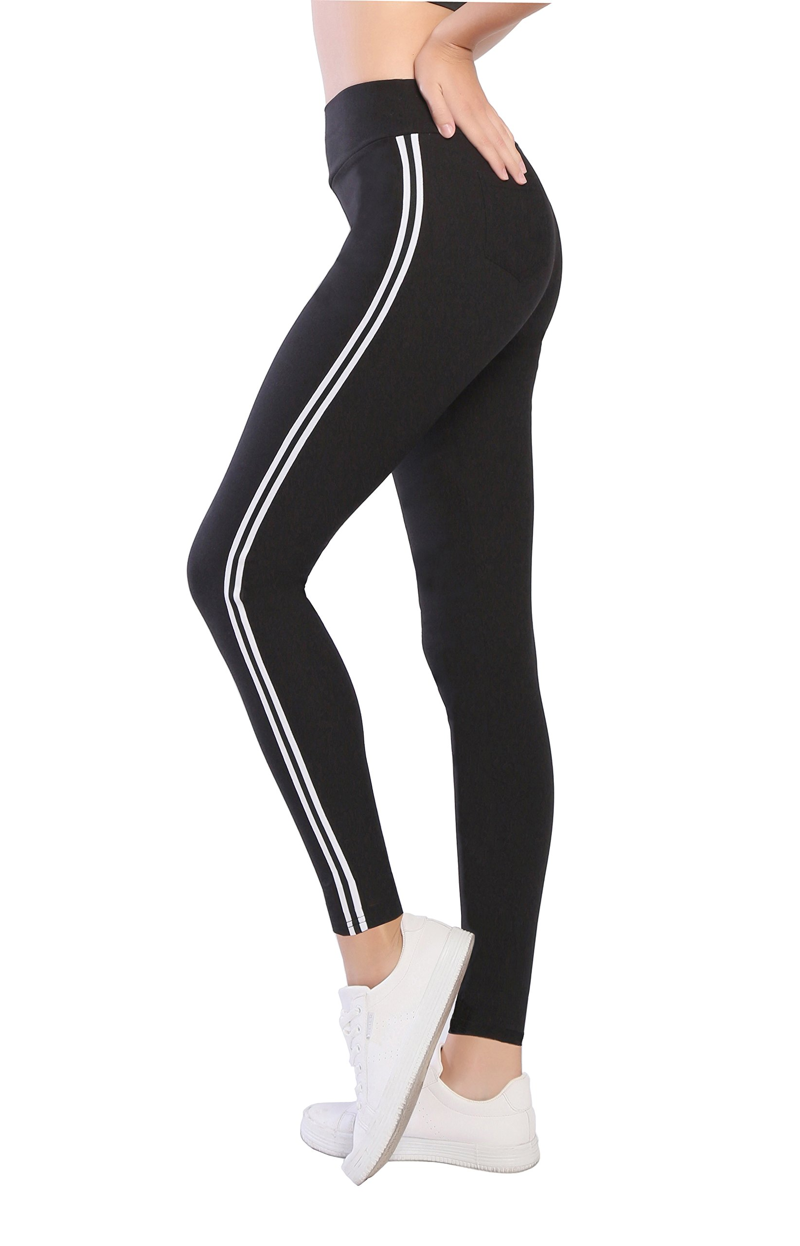 Benjuk Women High Waist Elastic Waistband Slim Fit Side Stripe Leggings Athletic Pants,Black