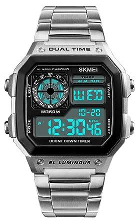 09f0fb526b 腕時計 ブランド メンズ メタルバンド 両地時間帯 デジタルウォッチ クロノグラフ 夜光 アラーム 防水
