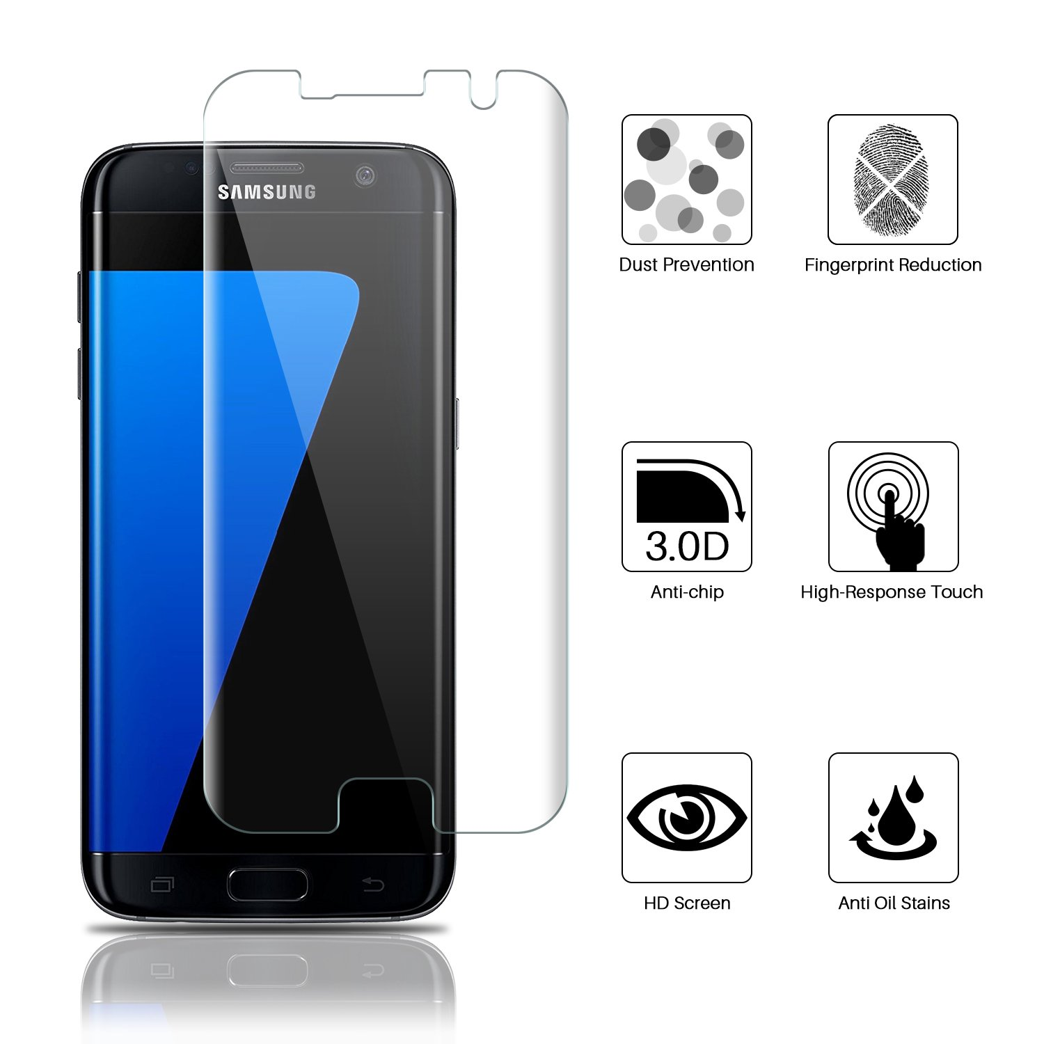 Amazon [3 Pack] Samsung Galaxy S7 edge Screen Protector LK Liquid Skin [New Version] [Full Coverage] [Bubble Free] HD Clear Flexible film with