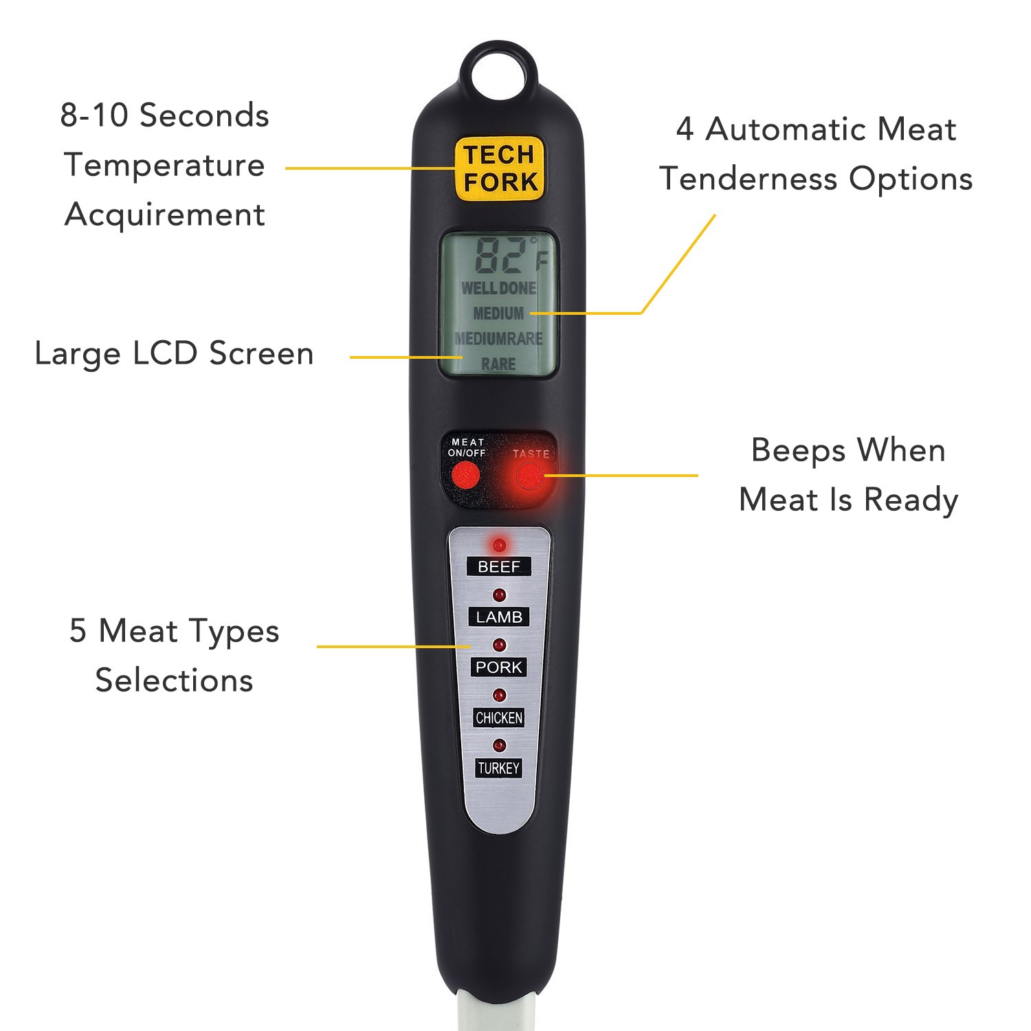 Barbestar Digital Meat Thermometer for Grilling with Long Fork,Instant Read BBQ Cooking Thermometer with LED Screen, Ready Alarm (Black) by Barbestar (Image #1)
