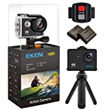 EKEN H9R 4K Action Camera, Full HD Wifi Waterproof Sports Camera with 4K/2.7K/ 1080P60/ 720P120fps Video, 12MP Photo and 170 Wide-Angle Lens, includes 11 Mountings Kit, 2 Batteries (Black)