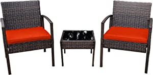 Pyramid Home Decor Nista Patio Bistro Set 3-Piece Outdoor Furniture - Modern Rattan Garden, Backyard and Balcony Chair with Thick Cushions and Glass Top Coffee Table (Orange)