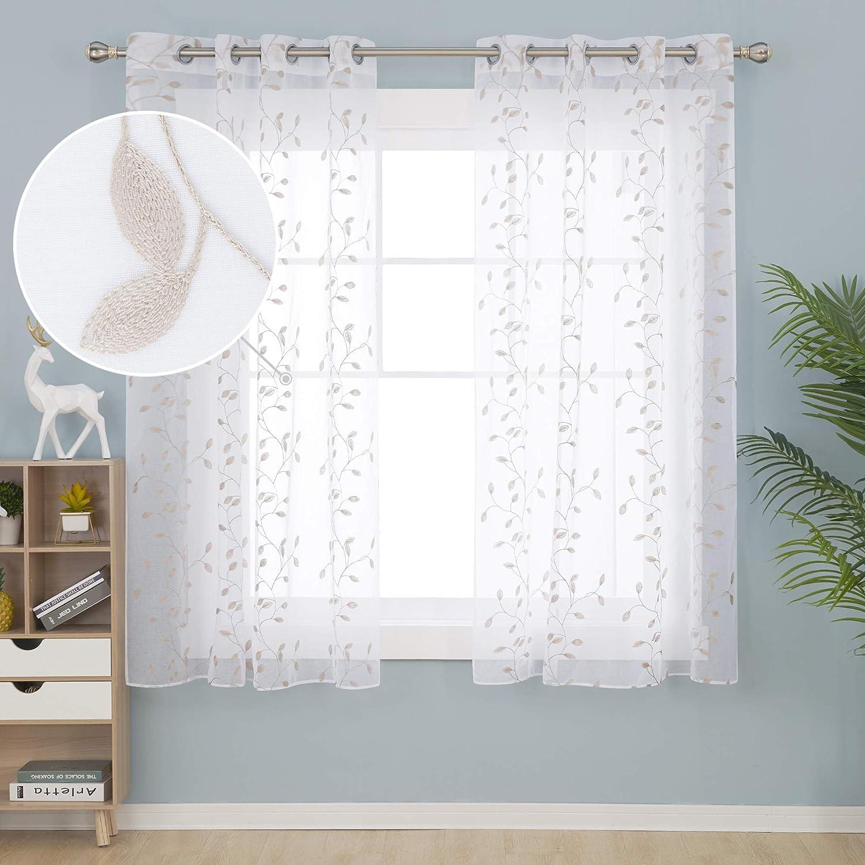 Deconovo Tende Ricamate Finestre in Voile Trasparenti per Cucina e Soggiorno Eleganti con Occhielli 140x138cm Rosa 2 Pannelli