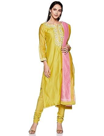 e2dacb13470 BIBA Women s Cotton Achkan Salwar Suit Set  Amazon.in  Clothing ...
