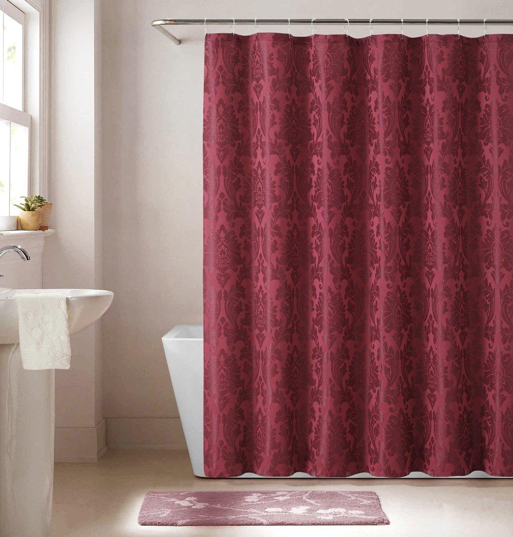 Luxury Home 13 Piece Jacqueline Jacquard Shower Curtain Set Burgundy Amazonin Kitchen
