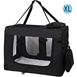 MC Star Sacs de Transport pour Chien Chat Portable Pliable Cage de Transport Animal Domestique XL 82 x 58 x 58 cm, Noir