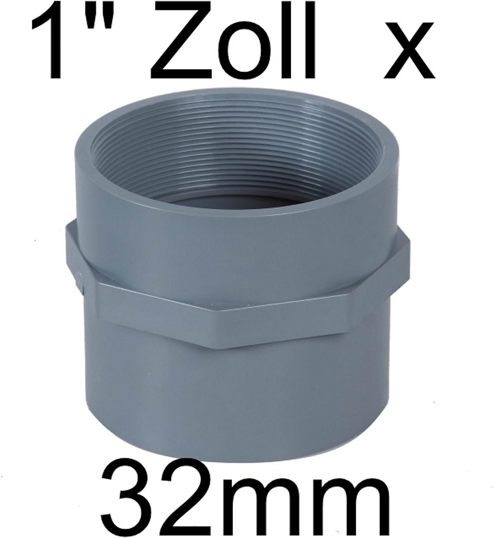 1m Rohr /Ø32mm + Muffe PVC Rohr 32 sowie Rohrverbinder Winkel Kniest/ück Muffen T-St/ück Kappen