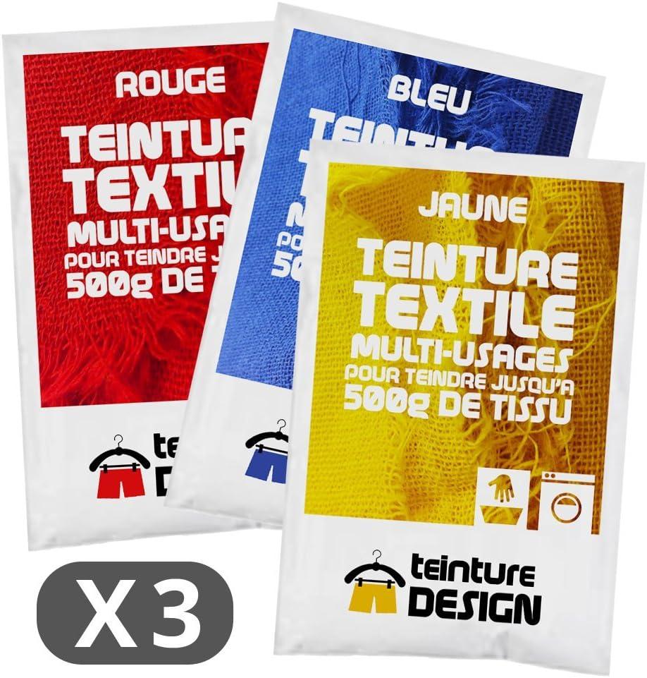 Set de 3 bolsas de tinte textil – Azul, Rojo y amarillo – Teintures universales, Tie Dye, Batik, Shibori