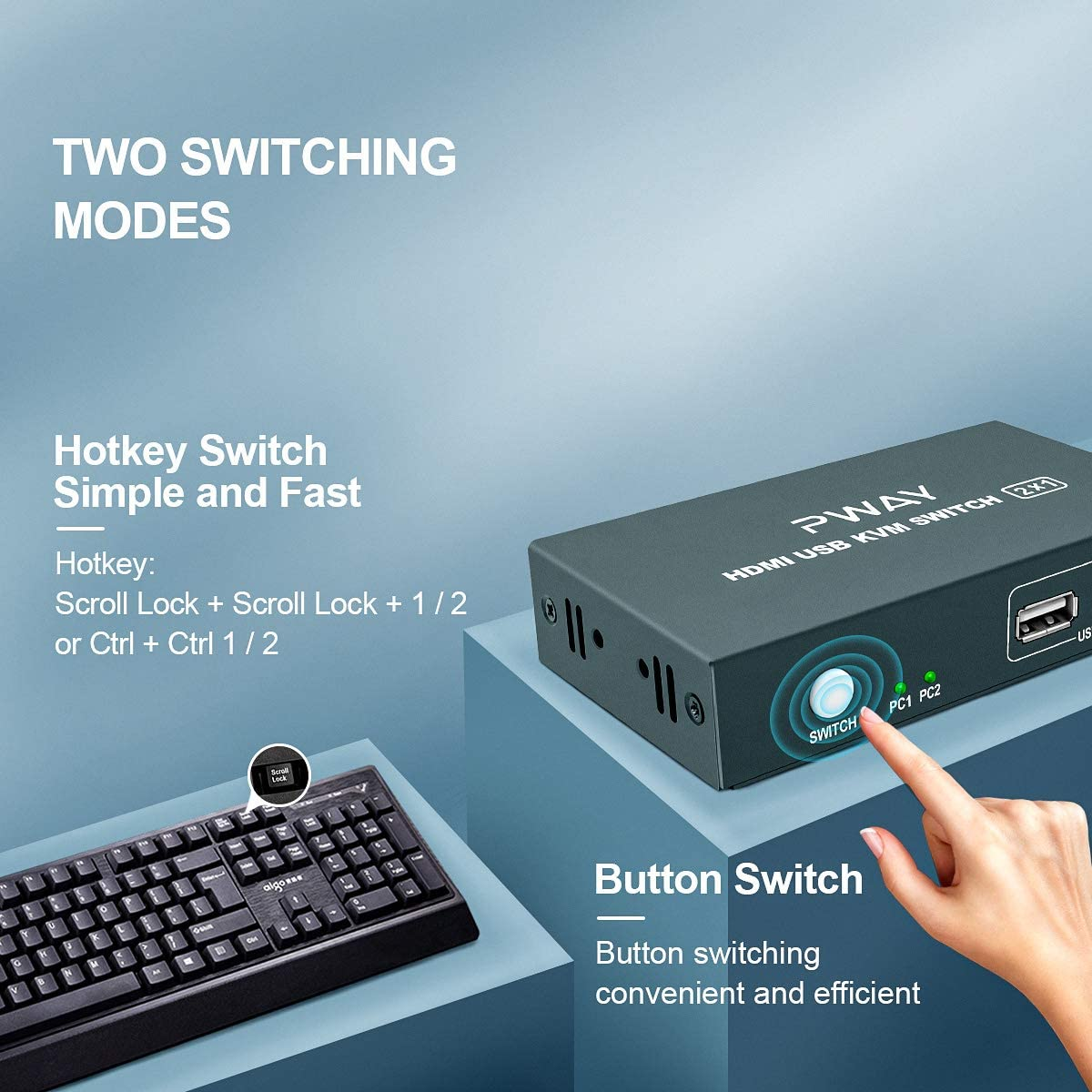 No Power Adapter Required GHT KVM Switch HDMI 2 Port Box,UHD 4K@30Hz /& 3D /& 1080P Supported with 2 USB and 2 HDMI Cables