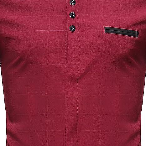 Hombre camisa manga larga Otoño,Sonnena ❤ Camisas para hombres delgadas con cuadros Camiseta de manga larga casual de verano Blusa casual: Amazon.es: ...