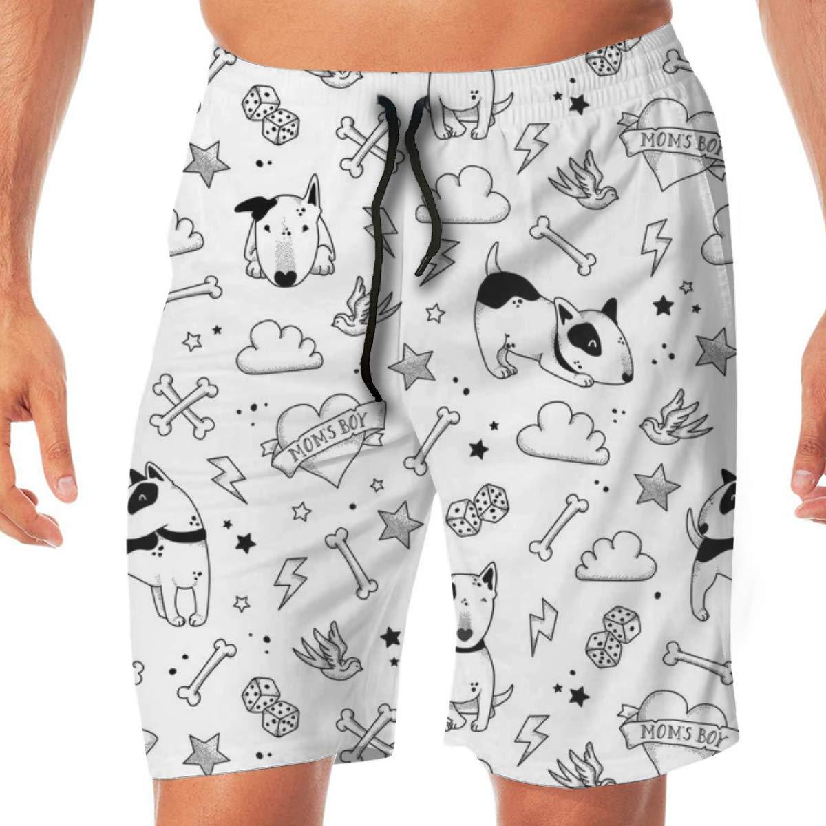 Bullterriers Tattoo Black Bullies Mens Beachwear Slim Fit Summer Holiday Swim Trunks Quick Dry Striped Swim Shorts