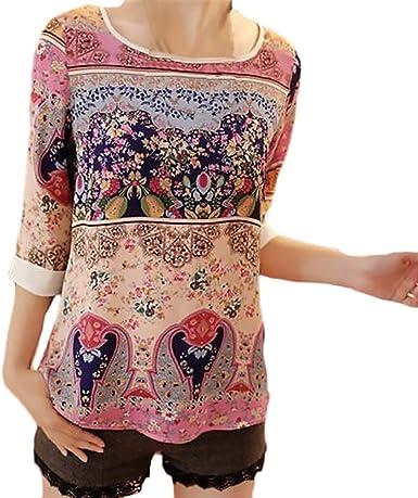 BOLAWOO Camisetas Mujer Vintage Cuello Redondo Estampados De ...
